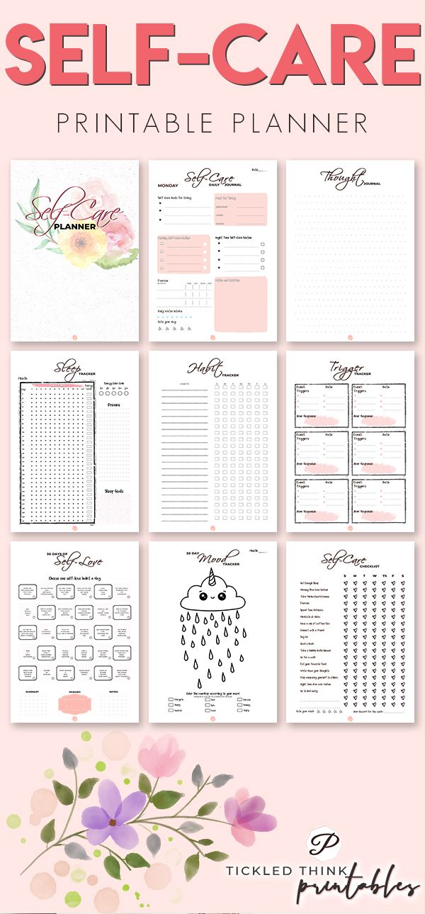 Self-Care Printable Planner + Holiday Planner #mentalhealthjournal