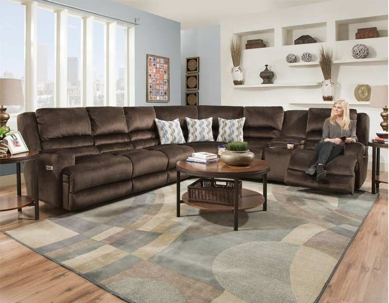 Franklin Furniture   Grand Slam Reclining Sectional In Chocolate    775 SEC CHOCOLATE