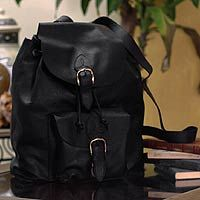 Novica Leather backpack, Liquorice - Black Leather Back Pack from Mexico