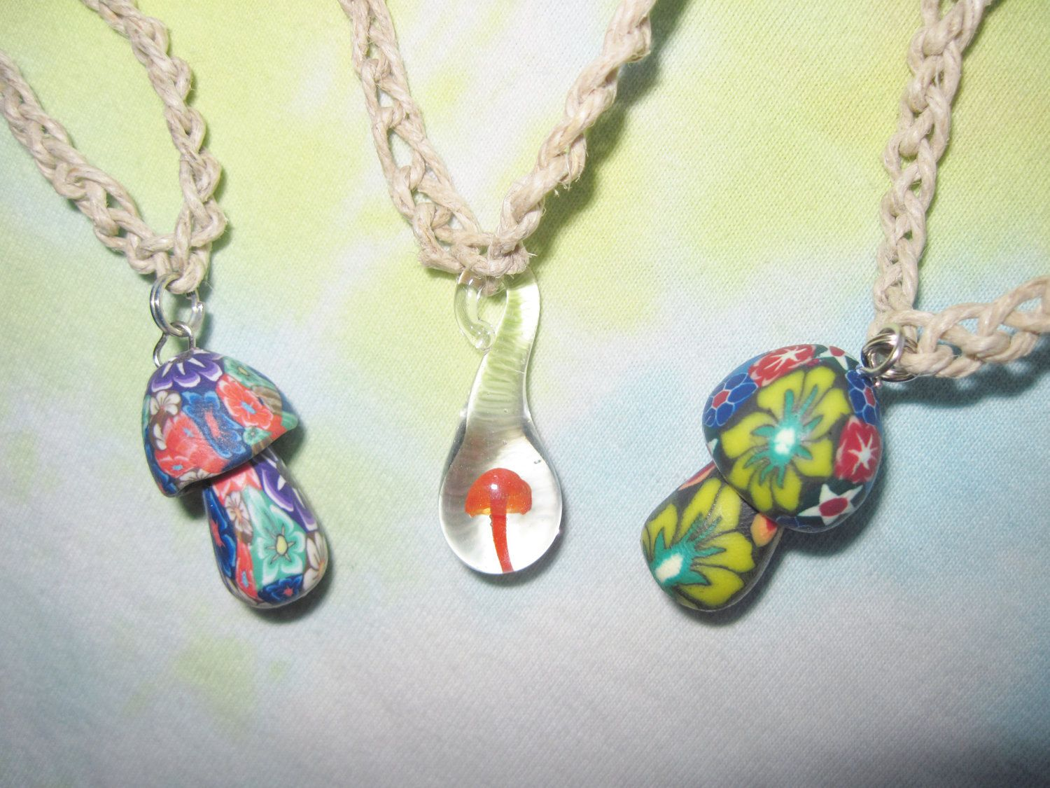 Hempnecklacesmushroomlotof3fimoglassbybeanstergoods hemp necklaces mushroom lot of 3 fimo glass pendant shrooms red psychedelic by beanstergoods on etsy mozeypictures