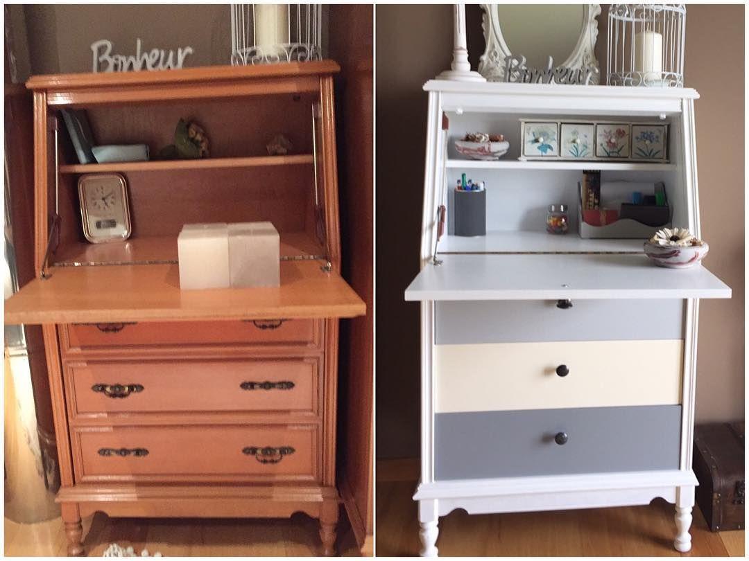 Bur antiguo restaurado y lacado en blanco y gris secreter bureau buro restauracion - Muebles antiguos lacados en blanco ...