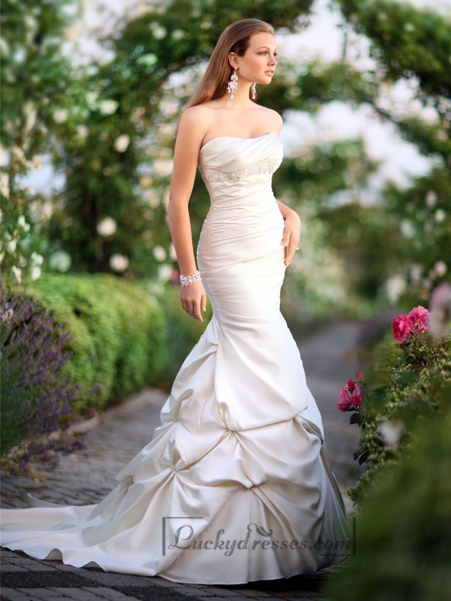 Elegant strapless mermaid ruched bodice wedding dresses mermaid