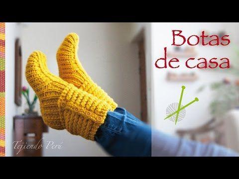 Botas Pantuflas tejidas en Dos Agujas o Palitos / Video tutorial ...