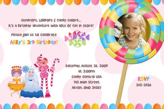 Candy Land Photo Birthday Invitation Custom by PhotoInvitations, $1.50 @Lauren Isbell