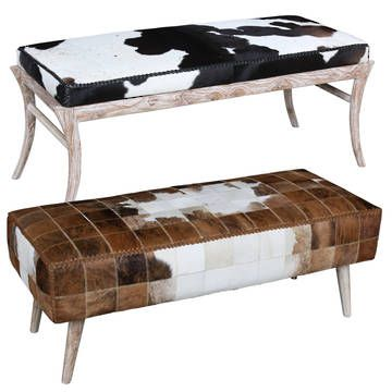 Dakota Cowhide Bench L Cowhide Bench L Eco Dining Bench L Bed End Cowhide Bench Green Furniture Furniture