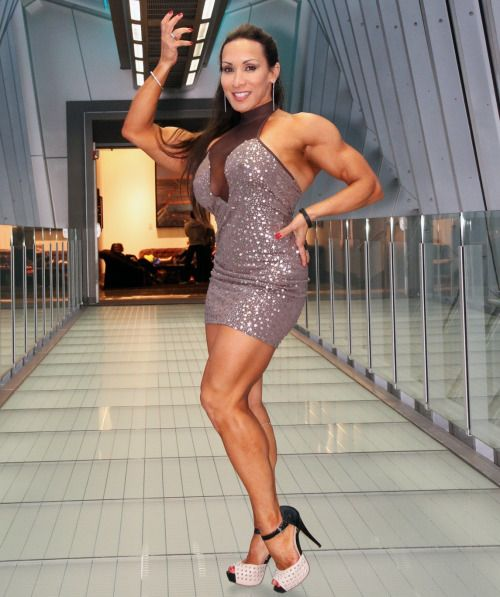 Denise Masino Female bodybuilder wearing a dress ...