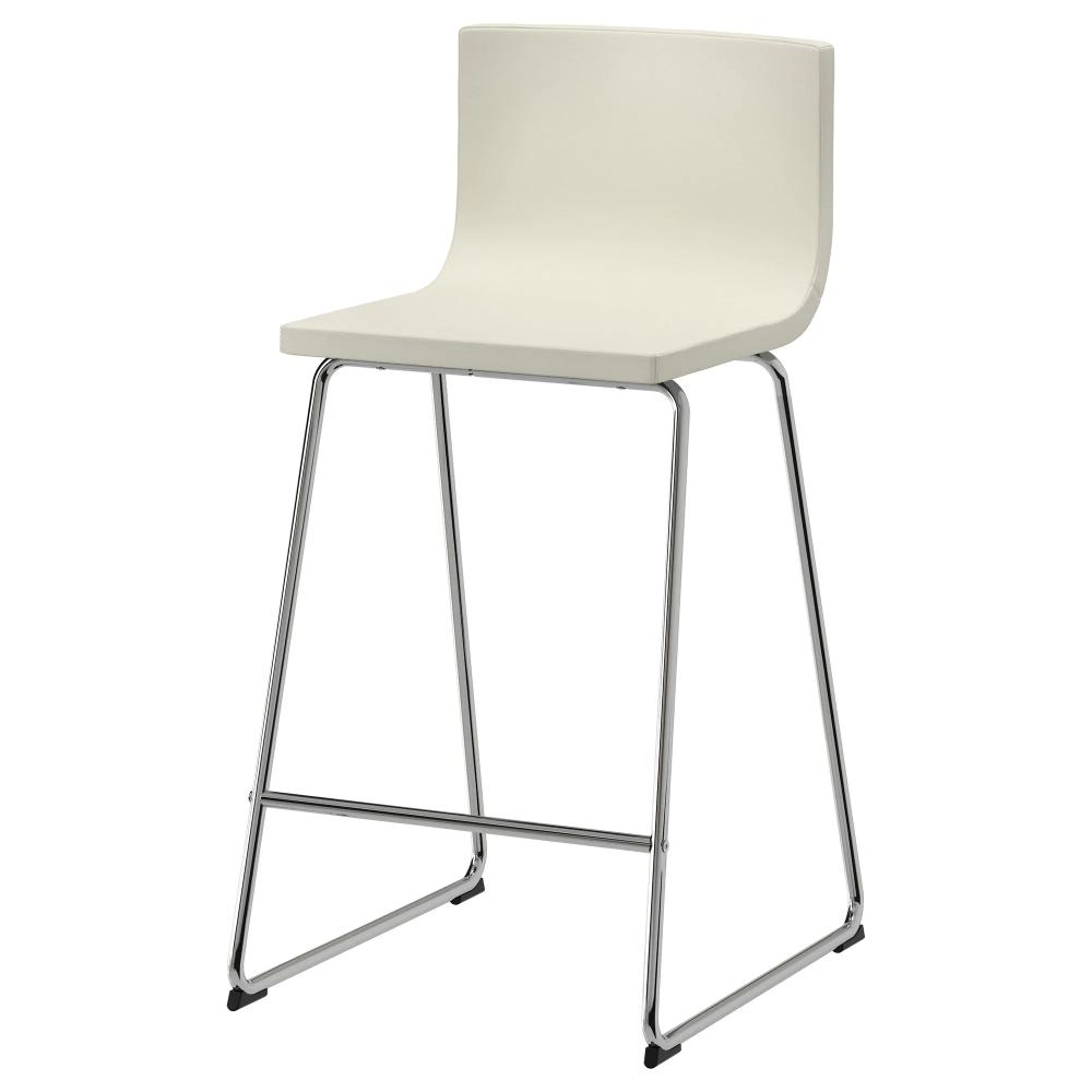 BERNHARD Bar stool with backrest, chrome plated, Mjuk Kavat white