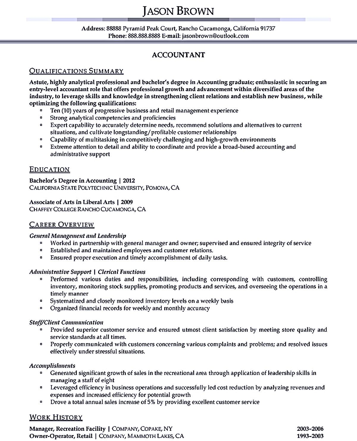 Outstanding Accountant Resume Sample For Junior And Senior Accountant Resume Problem Solution Essay Resume
