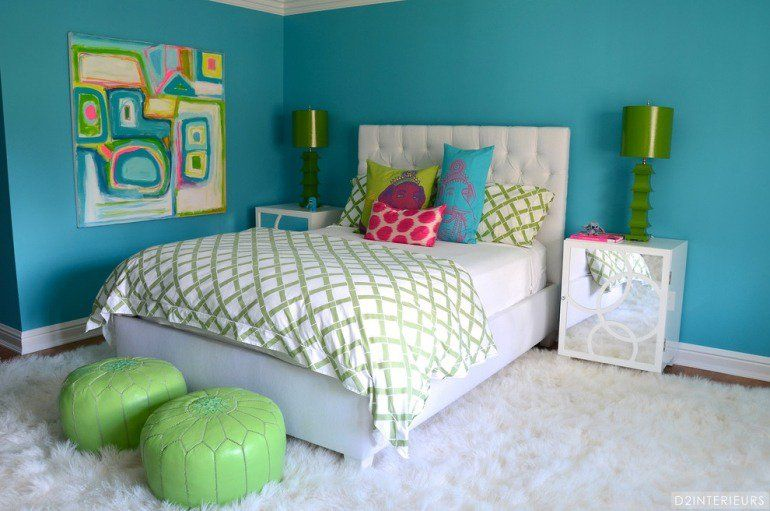D corer les murs d une peinture turquoise 38 id es d t - Decorer une chambre d ado fille ...