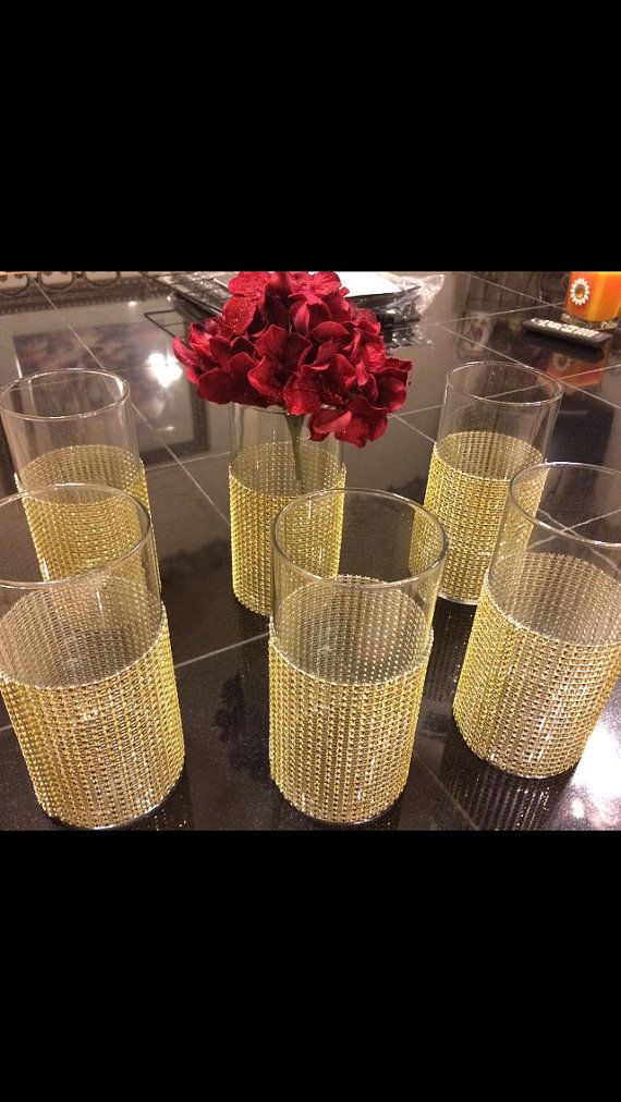 6 Centerpieces Vases With Gold Bling Faux Rhinestones Or Choose