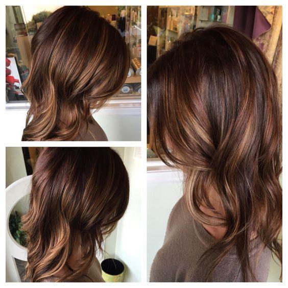 brunette with honey and caramel balayage best balayage