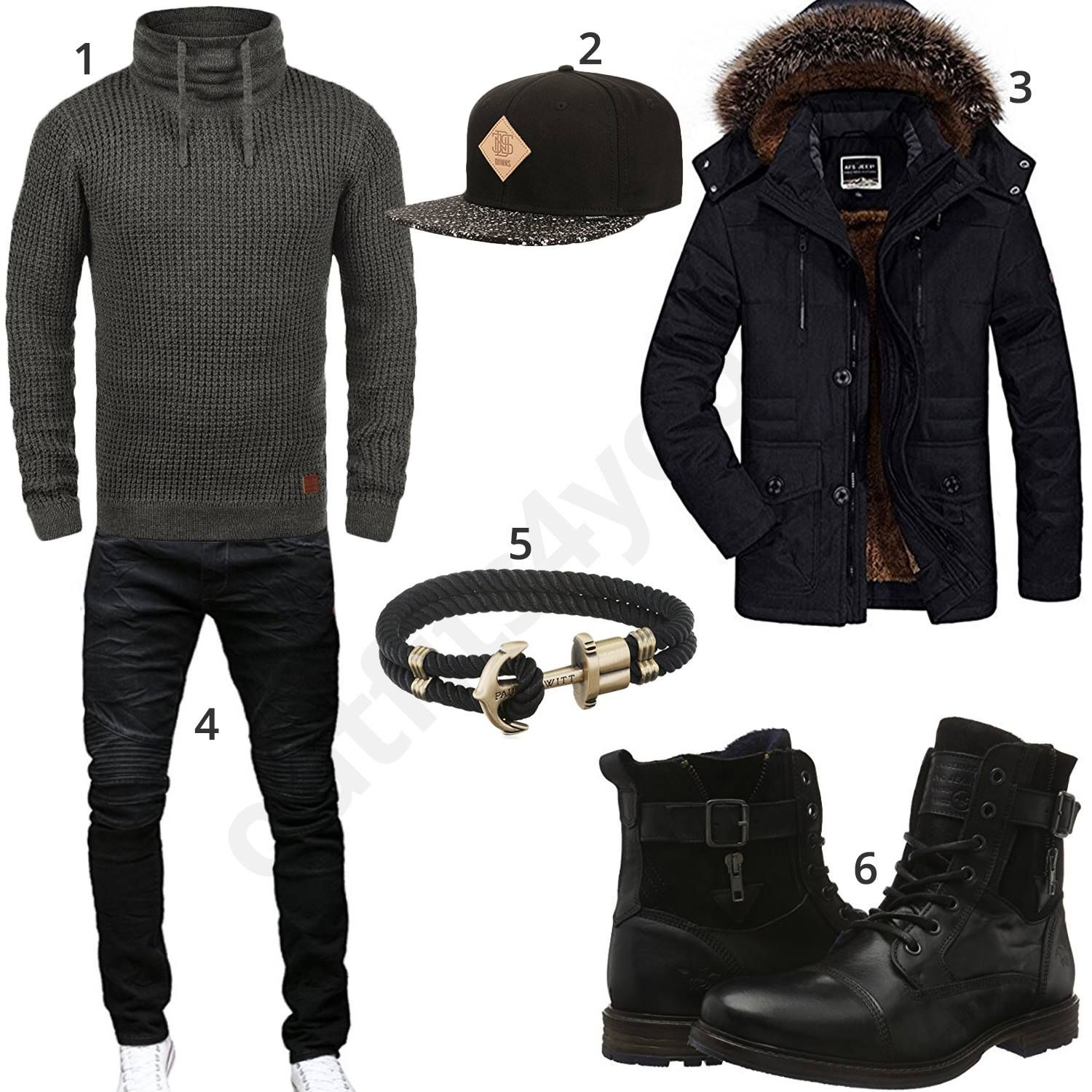 Cooler Herren-Style in Schwarz mit Cap und Armband (m0804)  parka  jeans   pullover  mustang  outfit  style  herrenmode  männermode  fashion   menswear ... a8db45d031