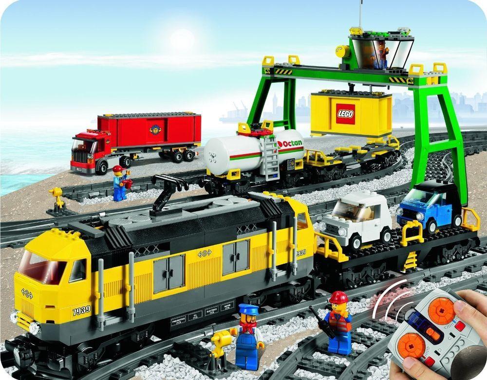 Lego City Cargo Train Trains Tracks Freight Crane Engine Electric