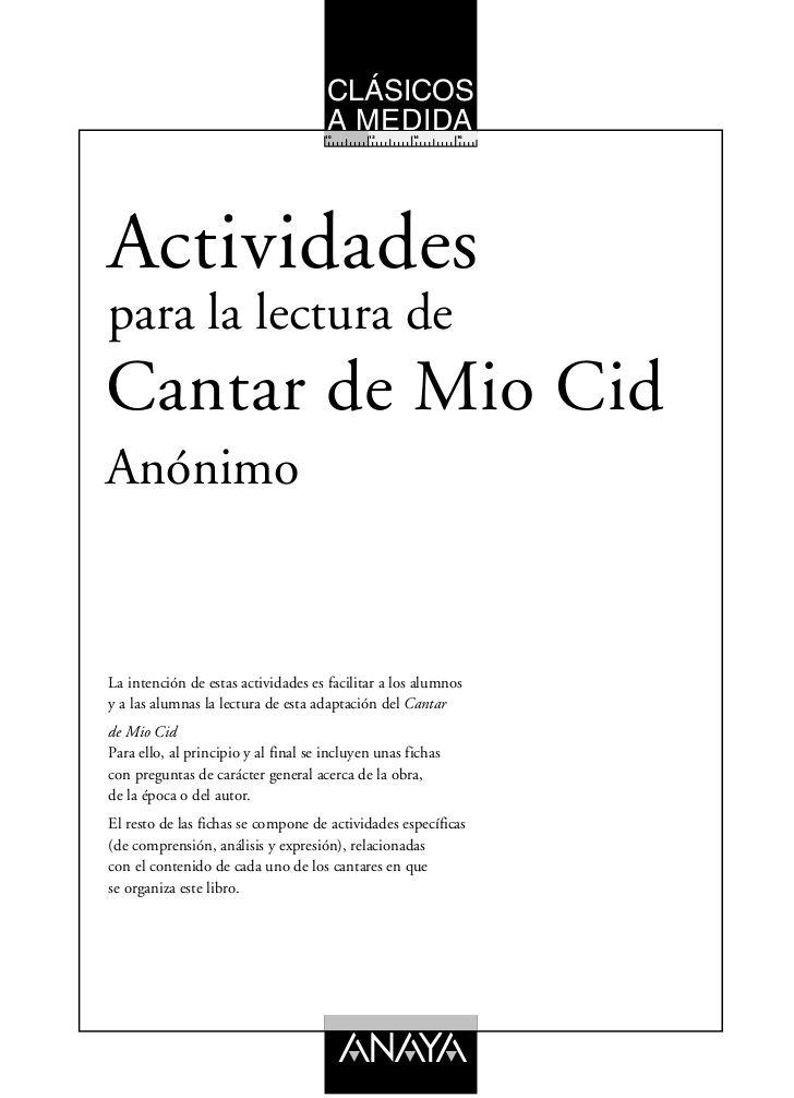 Guia De Lectura Del Mio Cid Lectura Clases De Literatura Actividades De Lectura