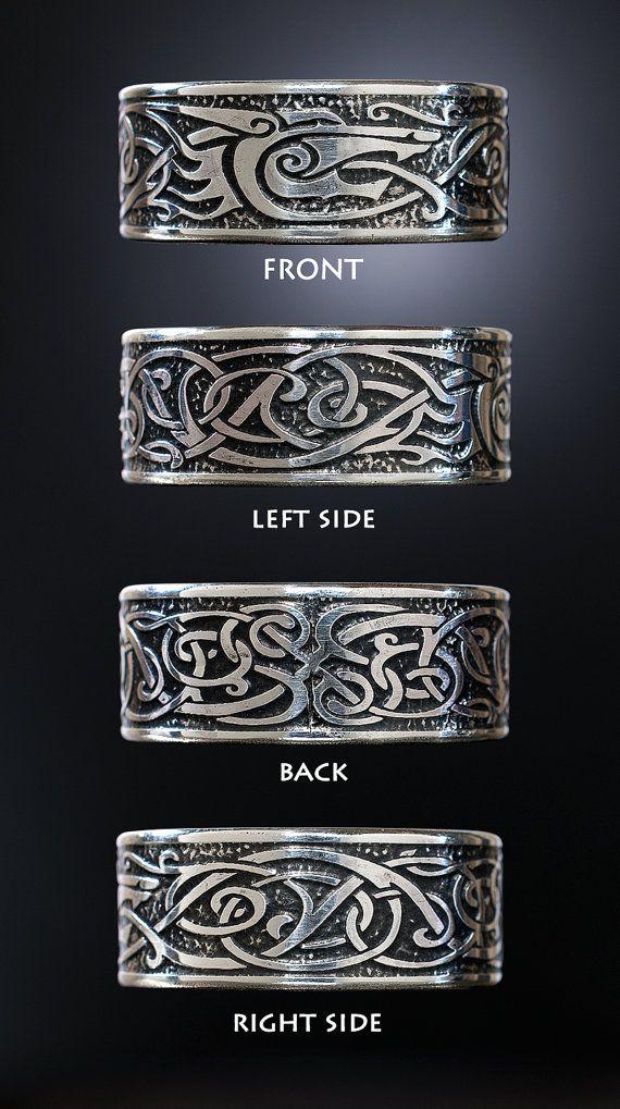 Viking WolfRing Sterling Silber Viking Ring keltische Mann  Accessories  Wolf Schmuck Mnner
