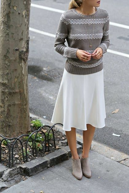 16de89f3f8e How to Wear Ankle Boots with Skirts via  PureWow