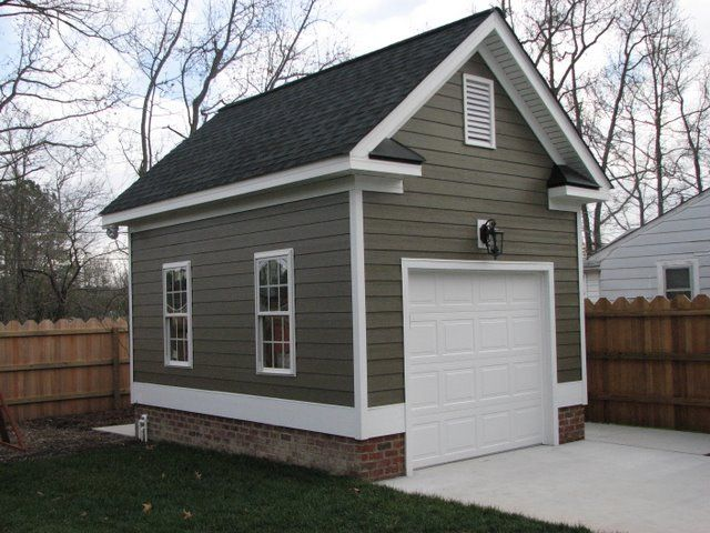 One car detached garage detached single car garage with for Single garage with carport