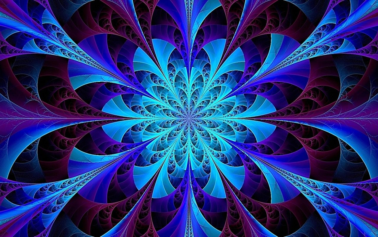 Blue Kaleidoscope Fractal Wallpapers Fractals Psychedelic Colors Fractal Art