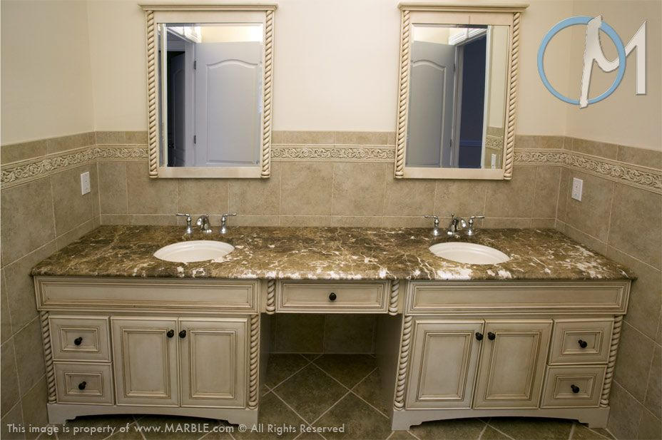 Emperador Light Is The Stone Selected For This 2 Sink