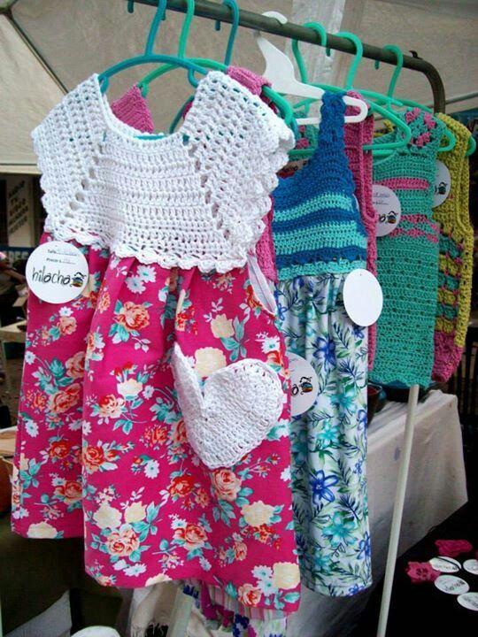 vestidos de niña con pechera en crochet patrones - Buscar con Google