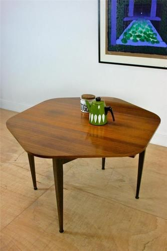 hexagonal round midcentury dining table in teak 60u0027s retro