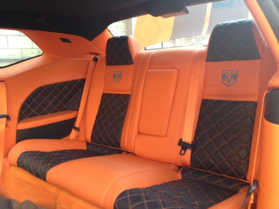 dodge challenger orange and black interior custom seats door panels auto addiction interiors. Black Bedroom Furniture Sets. Home Design Ideas