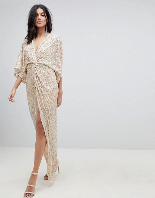 f7f1625d DESIGN TALL scatter sequin knot front kimono maxi dress | bridesmaids |  Dresses, Sequin kimono, Tall dresses