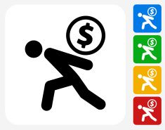 Stick Figure Carrying Coin Icon Flat Graphic Design vector art illustration