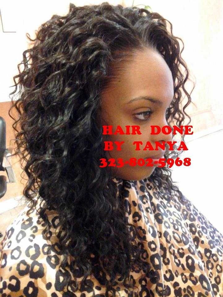 Curly Weave With Hair Left Outhair Was Blended To Match Curl