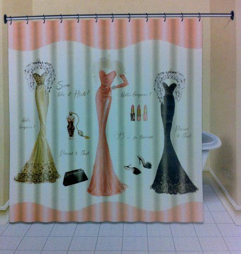 Dress To Thrill Fabric Shower Curtain Stunning Emily Adams Design Of Dresses In Red