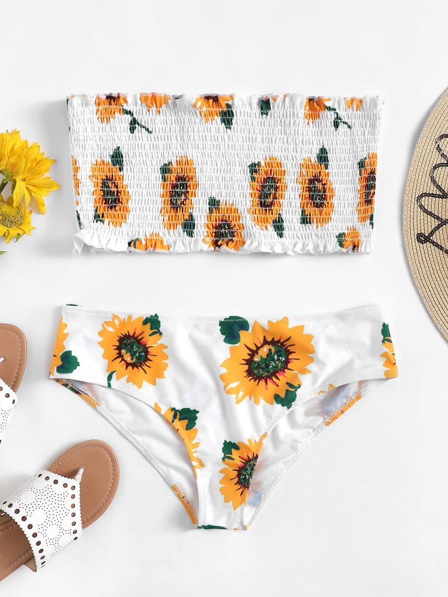 Bandeau Print Bikini Shein Plus Shirred Flower Set Random sheinside R5j34AL