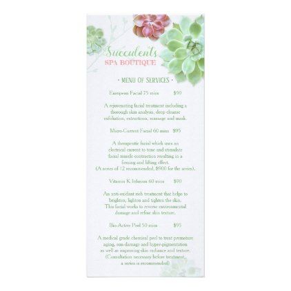Chic Succulents Massage Spa Price List Menu 1 Price list - wedding price list