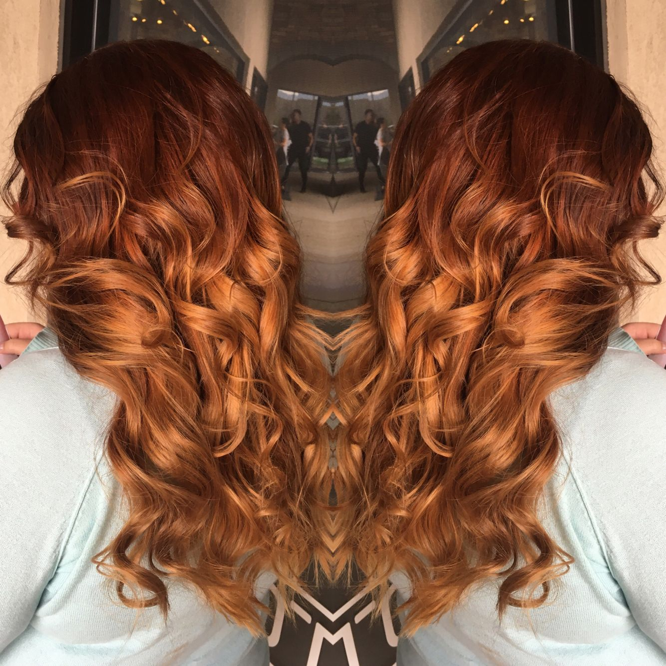Red Ombre Auburn Ombre Dark Red Hair Orange Hair Fire Hair Color Melt Curly Hair Transformation Ginger Fire Hair Fire Hair Color Dark Red Hair