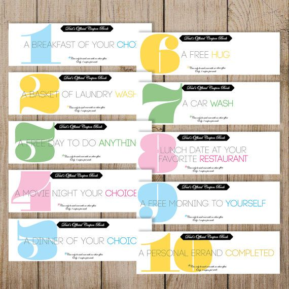 Father S Day Coupon Book Printable Dad Coupon By Jmunzdesign More