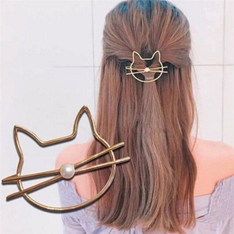 Women Girl Simple Cute Cat Pearl Hollow Hairpin Hair Clip Hair Accessories