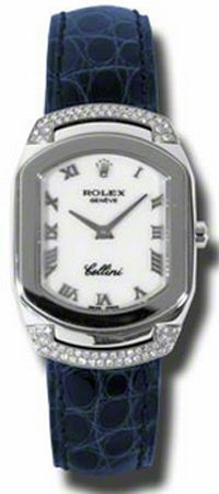 6692/9  ROLEX CELLINI CELLISSIMA LADIES WATCH   Usually ships within 8 weeks - FREE Overnight Shipping- NO SALES TAX (Outside California) - WITH MANUFACTURER SERIAL NUMBERS- White Mother of Pearl Dial- 78 Diamonds Set on Bezel  - Battery Operated Quartz Movement- 3 Year Warranty- Guaranteed Authentic - Certificate of Authenticity- Polished 18K White Gold Case - Blue Leather Strap with Crocodile Pattern - Scratch Resistant Sapphire Crystal- Manufacturer Box