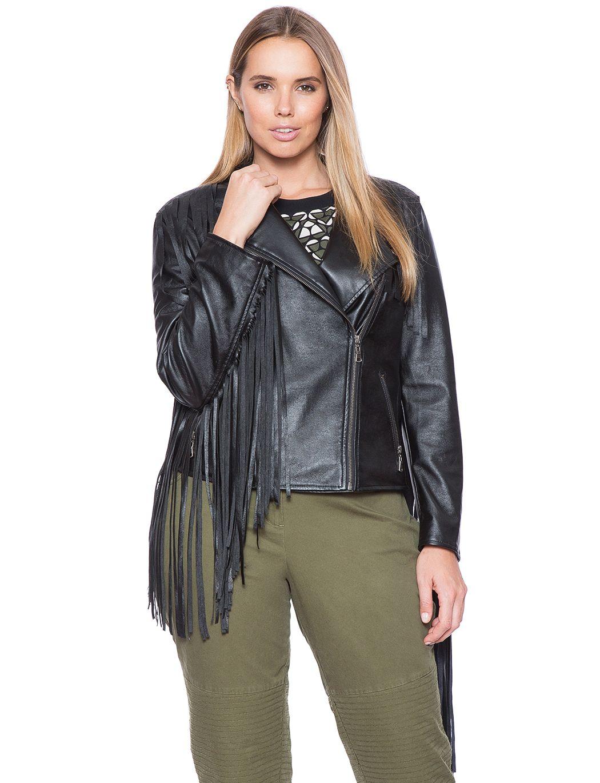 7bebba795fd Studio Faux Leather Fringe Jacket