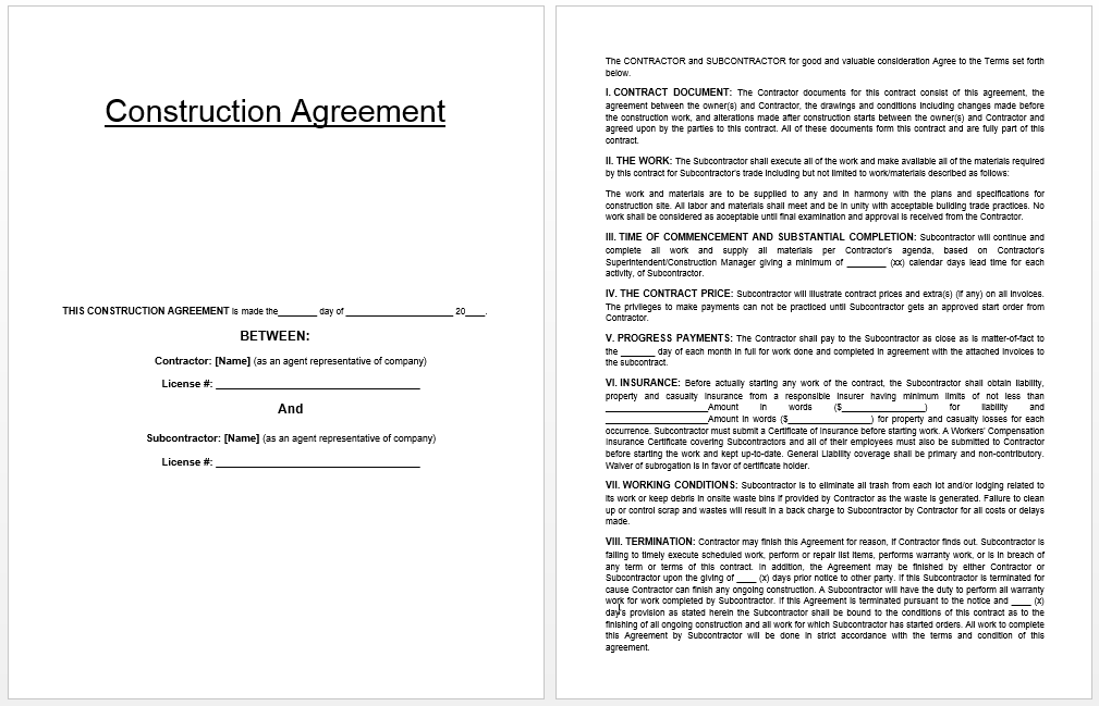Construction Agreement Template  Templates    Template