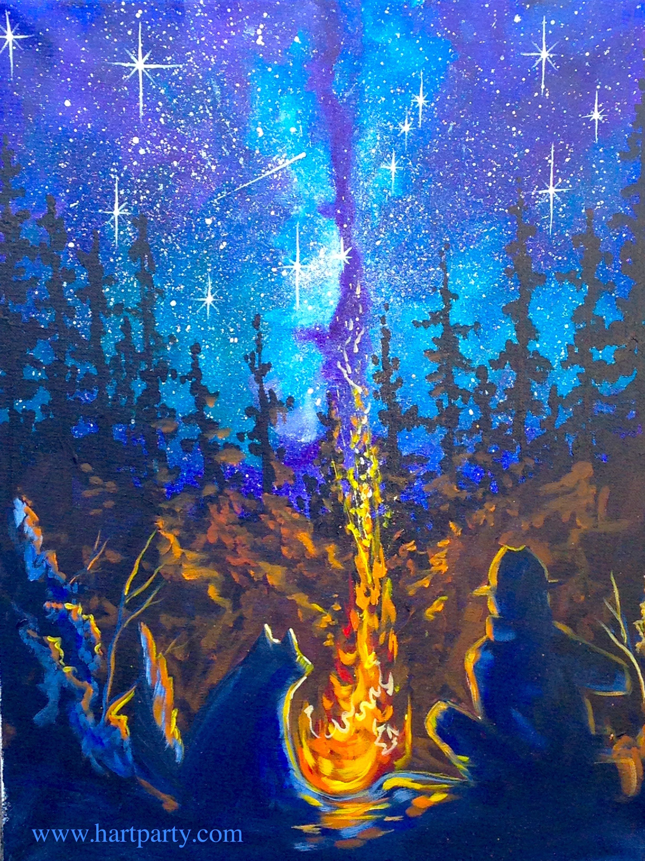 How to paint a Campfire scene under the Galaxy of Stars ... Campfire Painting