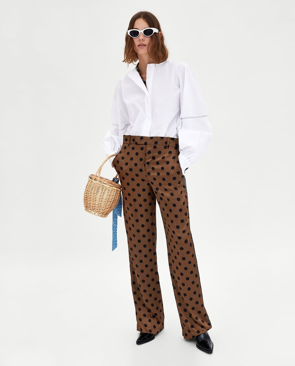 681794df5ee91 Le Zara Image Pantalon Chemisier À 1 De Pois xWqUY8a
