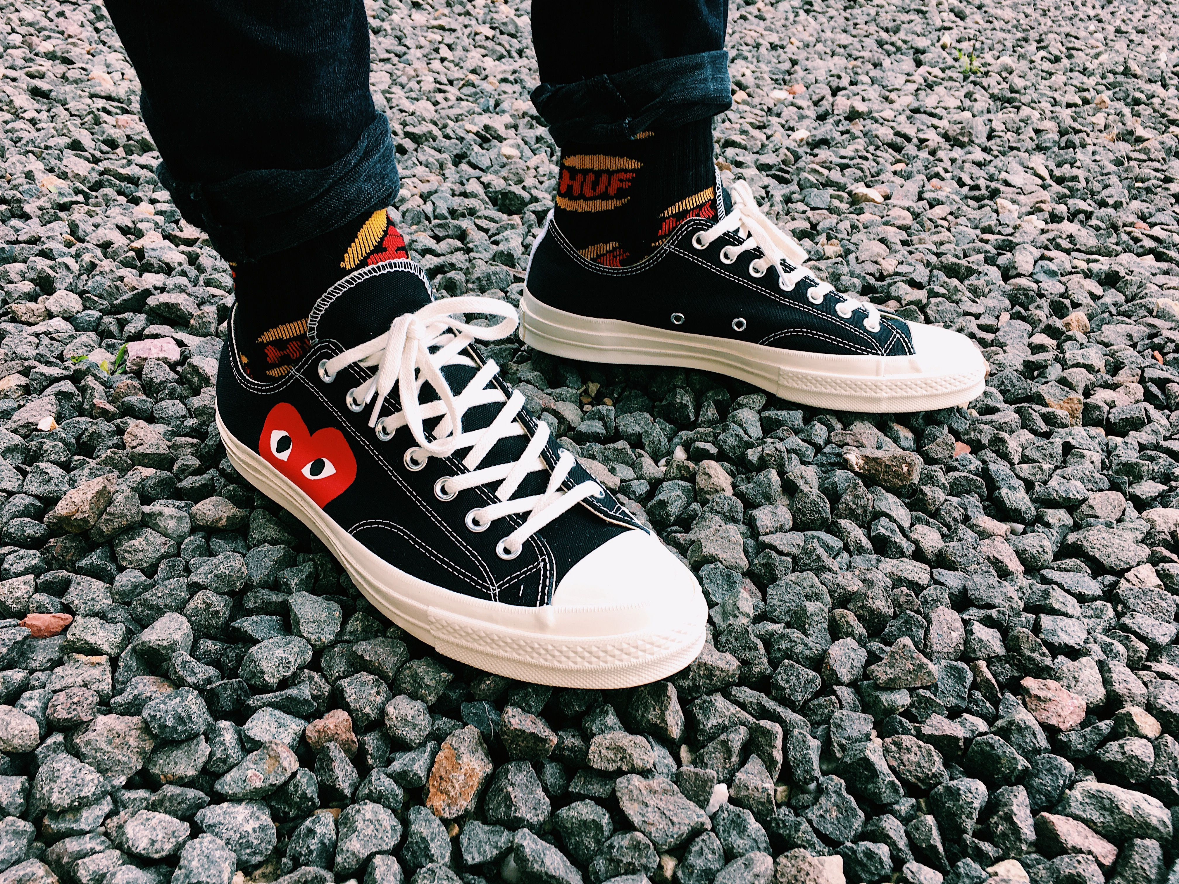 cffcd4b32da4 CDG Comme des Garcons Play x Converse Chuck Taylor All Star  70 Lo Black on  feet
