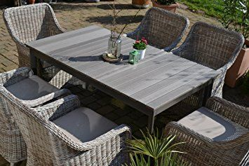 Gartenmöbel Set Como 6 Tisch Ausziehbar Holzdekor Mit 6 Sessel Rattan  Polyrattan Geflecht Nice Look