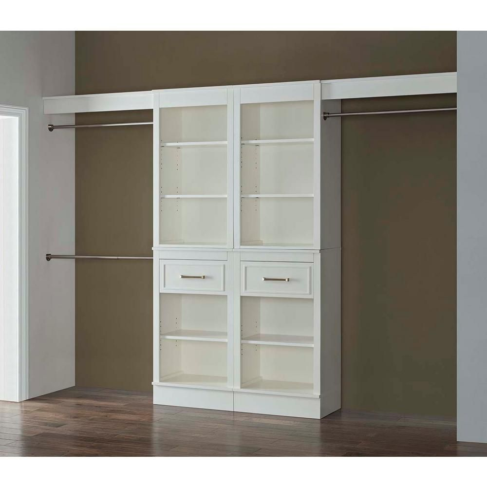 French Heritage 16 In. D X 120 In. W X 84 In. H Parisian White Wood Closet  System VI 1005 120 SET   The Home Depot