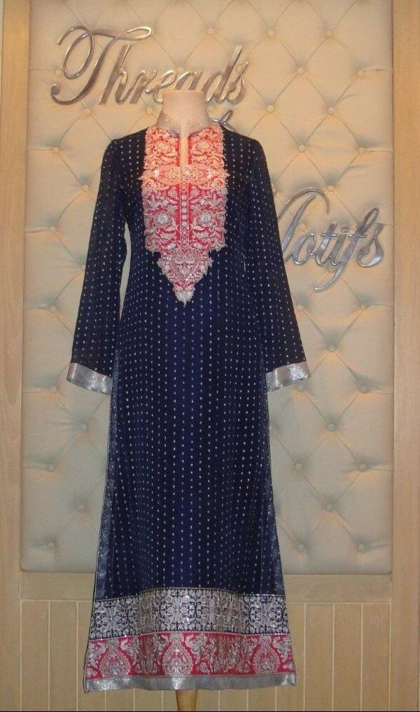 Pakistani designer dress from threads and motifs