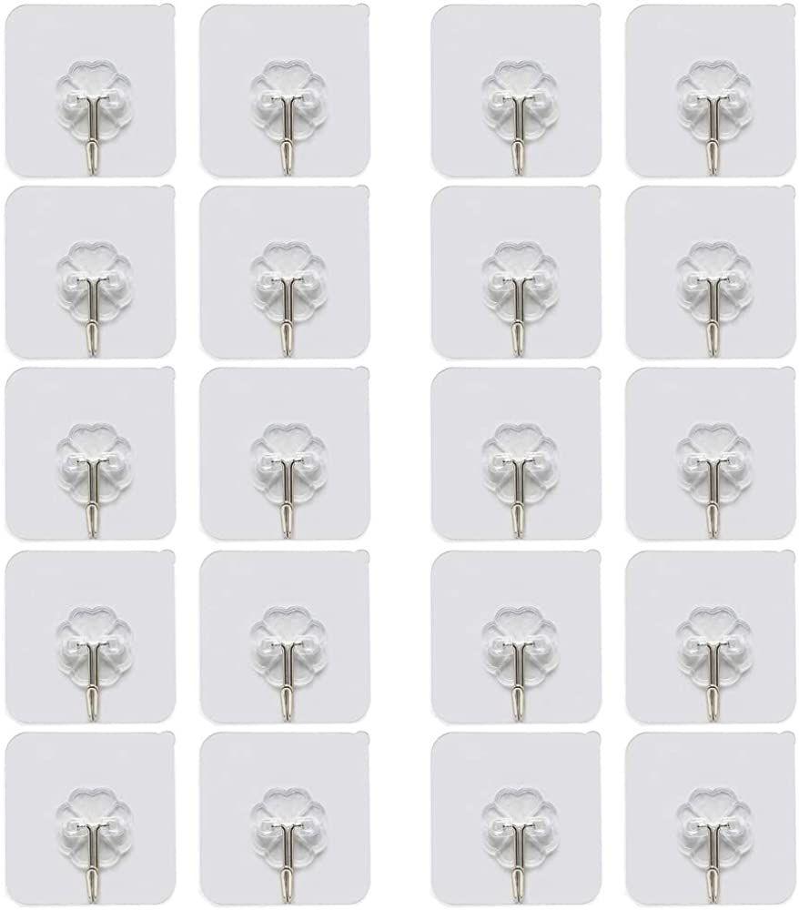 Amacoam 20 Stucke Klebehaken Ohne Bohren Wandhaken Transparenter