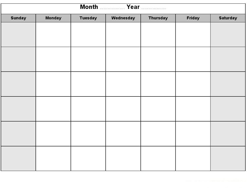 Printable Blank Monthly Calendar | Activity Shelter | Calendar