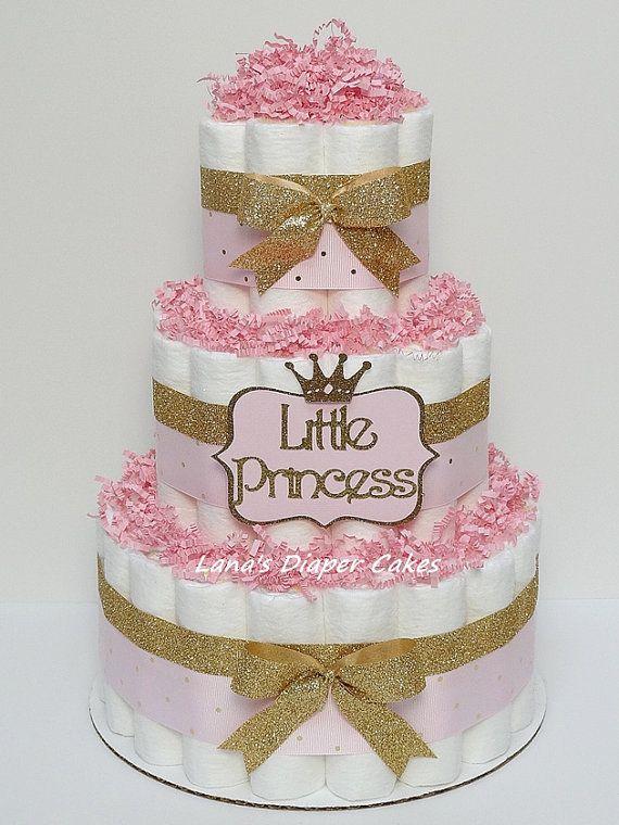 3 Tier Pink Gold Little Princess Diaper Cake Girl Baby Shower