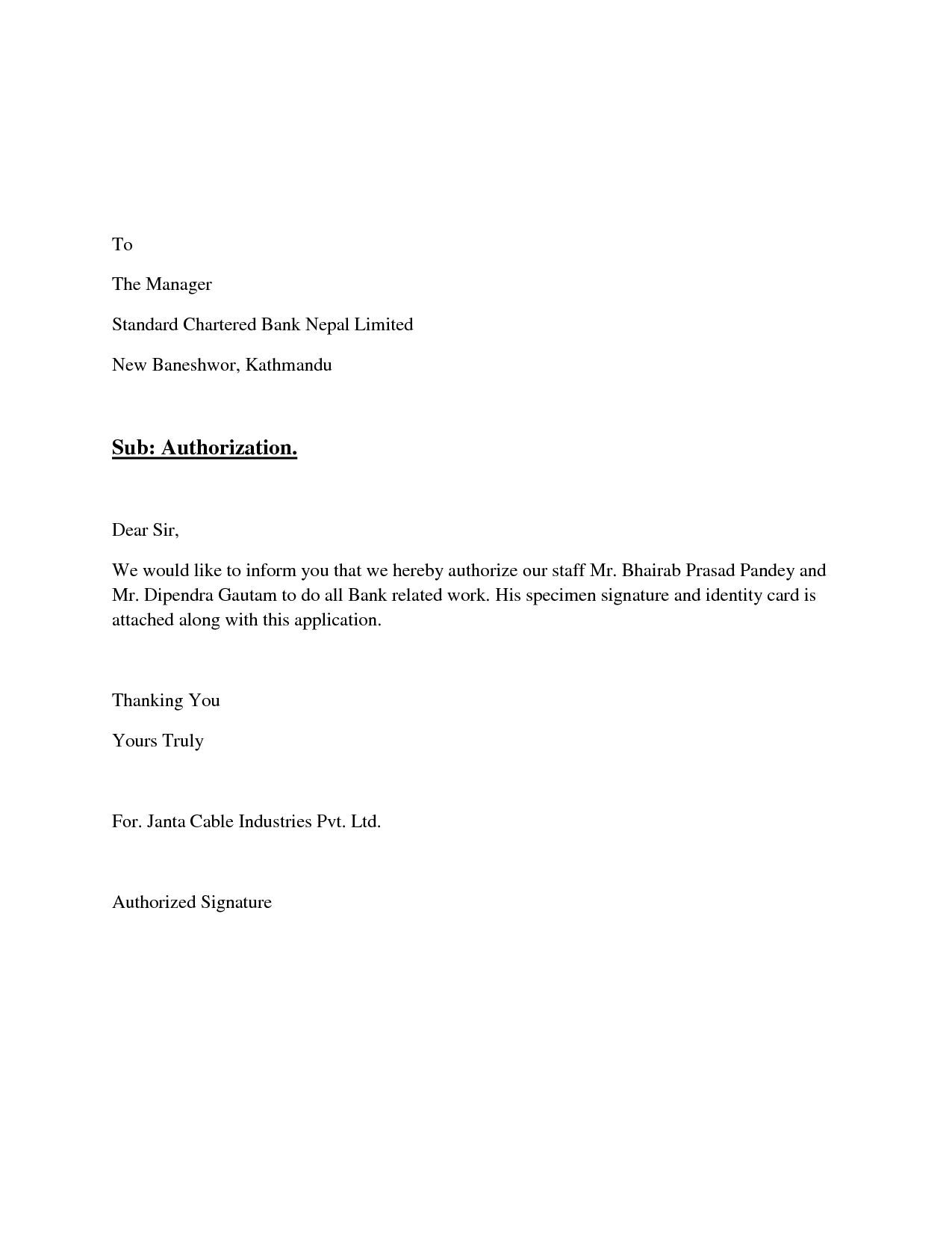 Signatory Authority Letter Format Best Template Collection Sample