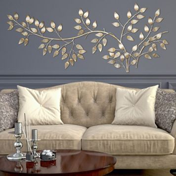 Metal Wall Art Decor For Living Room Wallpapers Stratton Home Flowing Leaves