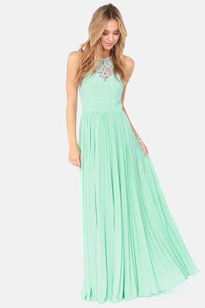 x Bariano Best of Both Whirleds Mint Green Lace Maxi Dress ...
